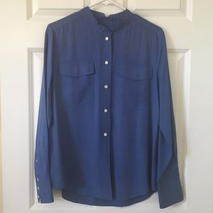J. Crew blue silk blouse